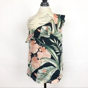 Ann Taylor Floral Ruffle One Shoulder Top